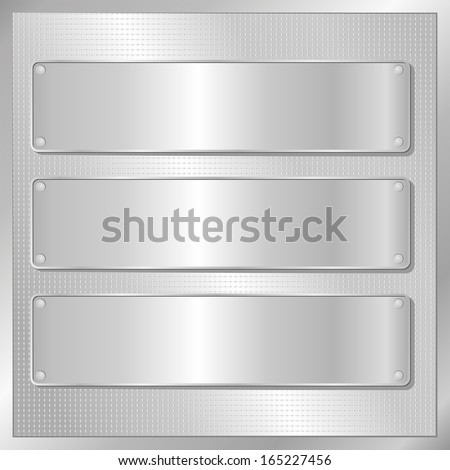 silver background with three silver banners - stock vector
