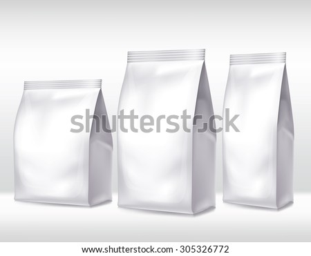 Silver bag package on a white background - stock vector