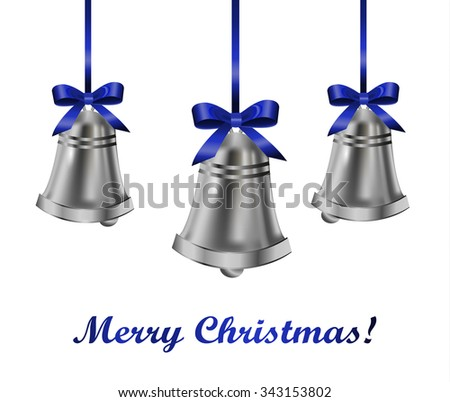 Silver bells with blue bow on a white background. Vector illustration - stock vector