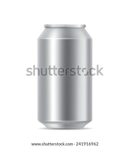 Silver blank can - stock vector