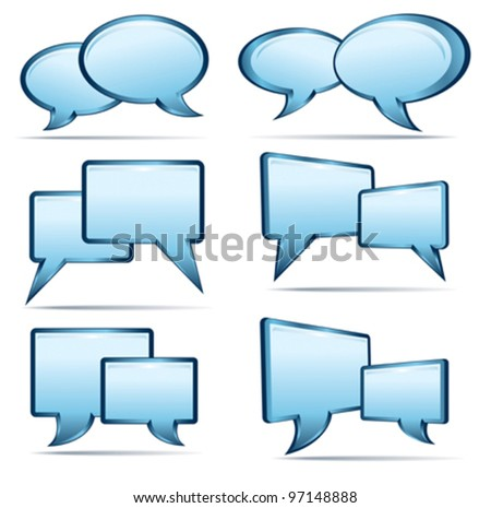 Silver blue and glass 3D and 2D speech bubbles - stock vector