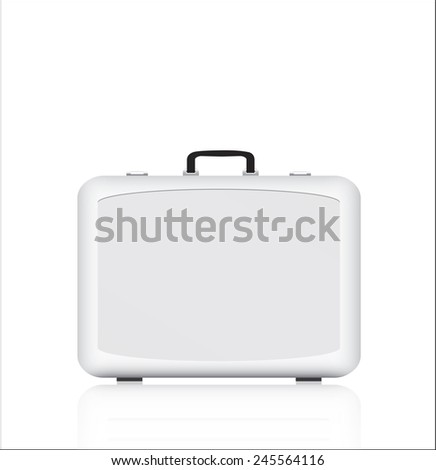 Silver briefcase on white background - stock vector