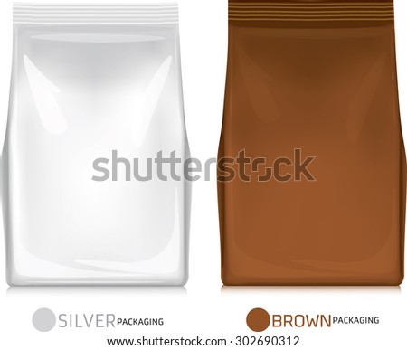 Silver-brown bag package on a white background - stock vector