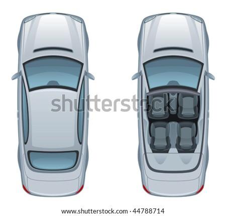 Silver cabriolet - stock vector