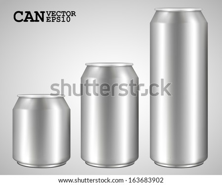 Silver can vector, ideal for beer, lager, alcohol, soft drink, soda, fizzy pop, lemonade, cola, energy drink, juice, water etc. Drawn with mesh tool. Fully adjustable & scalable - stock vector