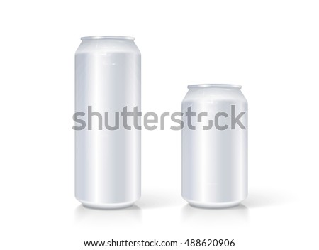 Silver can vector visual 330 ml & 500 ml, ideal for beer, lager, alcohol, soft drink, soda, fizzy pop, lemonade, cola, energy drink, juice, water etc.