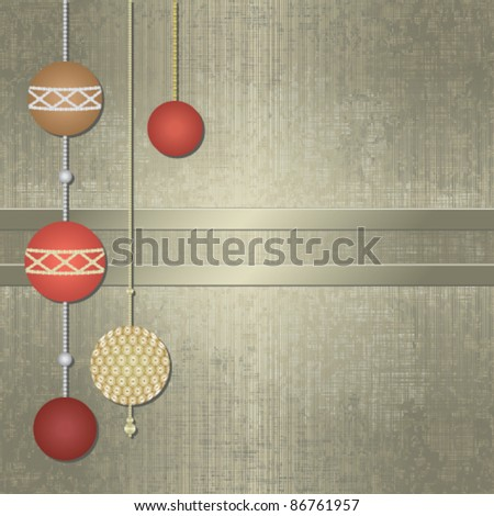 Silver Christmas background with ornaments