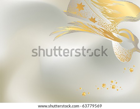 Silver Christmas background with the lacy figure of an angel. Vector illustration. - stock vector
