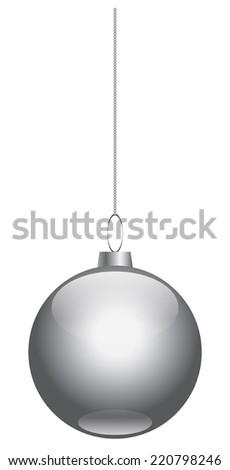 silver Christmas ball on white background vector