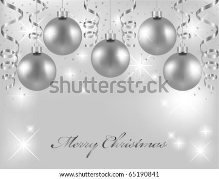 Silver Christmas balls - stock vector