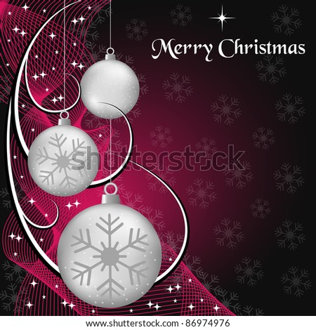 Silver christmas balls, wispy lines, stars and snowflakes on red and black background. Copy space for text. Raster also available. - stock vector