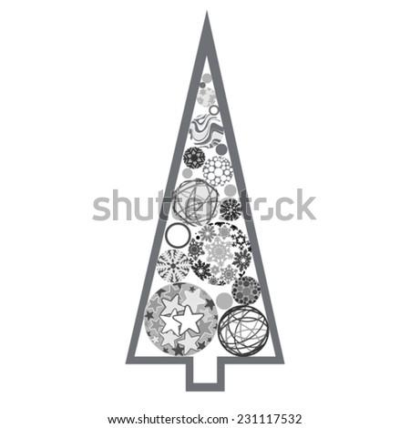 Silver Christmas tree made of various balls - stock vector