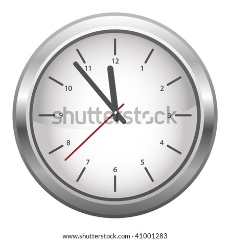 silver clock isolated over a white background