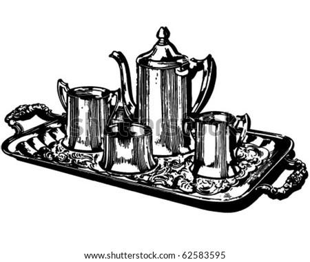 Silver Coffee Service - Retro Clipart Illustration - stock vector