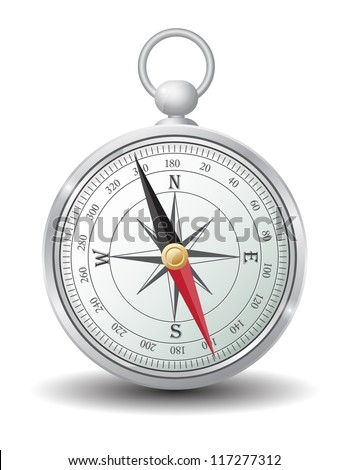 Silver compass vector - stock vector