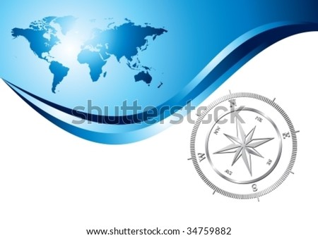 Silver compass with world map background, vector illustration