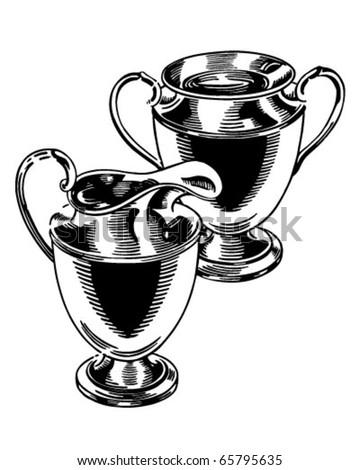 Silver Cream And Sugar Set - Retro Clipart Illustration - stock vector