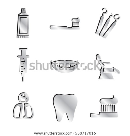 Silver Dentist & Tooth Health Icon Set