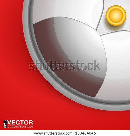 Silver dome plate cover on red tablecloth. Vector illustration, eps 10, contains transparencies. - stock vector