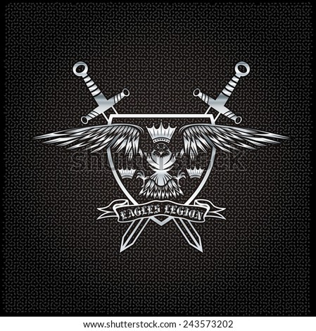 silver eagle with crown and swords crest on metal background - stock vector