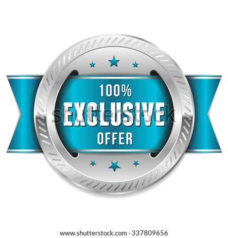 Silver Exclusive Offer Rosette With Light Blue Ribbon - stock vector