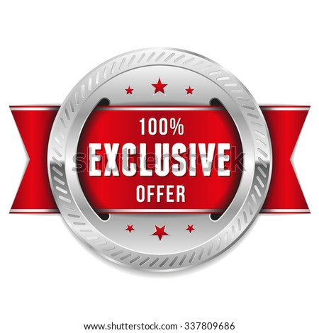 Silver Exclusive Offer Rosette With Red Ribbon - stock vector
