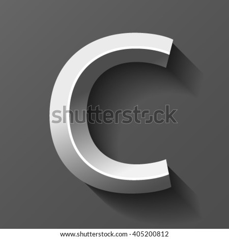 Silver font with bevel, letter C vector