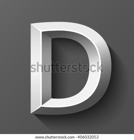 Silver font with bevel, letter D vector - stock vector