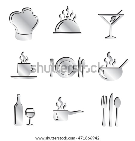 Silver Food and Restaurant Icon Set