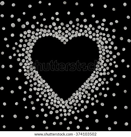 Silver frame in the shape of heart on black background. Pattern of golden acrylic confetti. Design element for festive banner, card, invitation, label, postcard, vignette. Vector illustration. - stock vector
