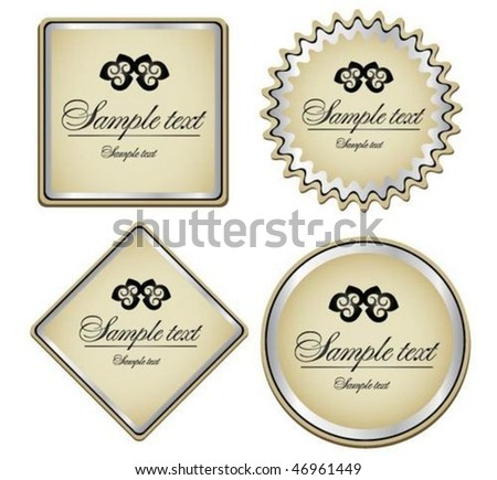 Silver-framed labels and sticker - stock vector