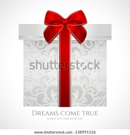 Silver gift box with floral pattern and red bow (ribbon). Vector celebration symbol (present) for (St' Valentin day, Mother's day, Christmas and other holidays). Background design for greeting card - stock vector