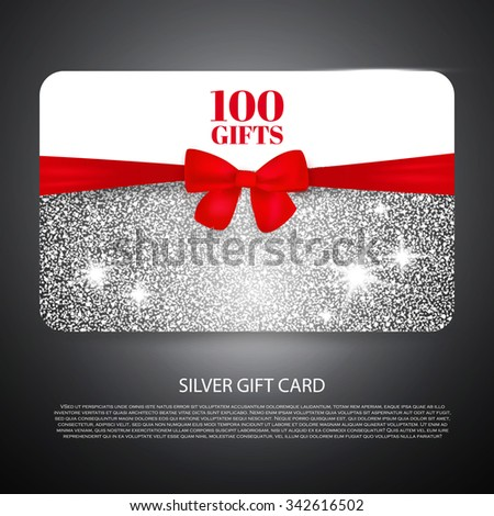 Silver Gift Coupon, Gift Card. Discount Card, business card) with Bow. Holiday Background for Invitation. Vector illustration - stock vector