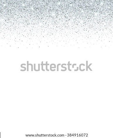 Silver glitter background. Silver sparkles on white background. Festive frame for your text. Creative invitation for your design, party, holiday, wedding, birthday. Vector illustration.  - stock vector