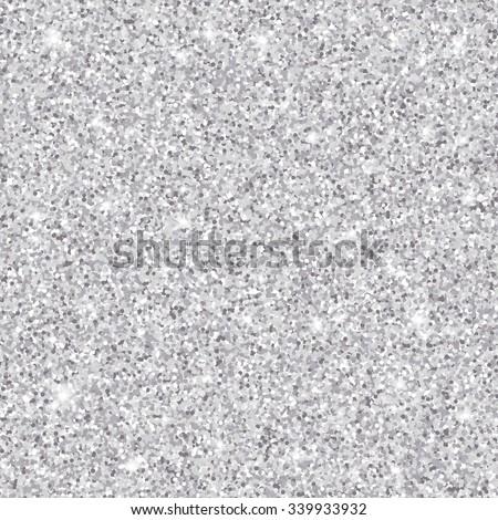 Silver glitter seamless pattern, vector texture - stock vector