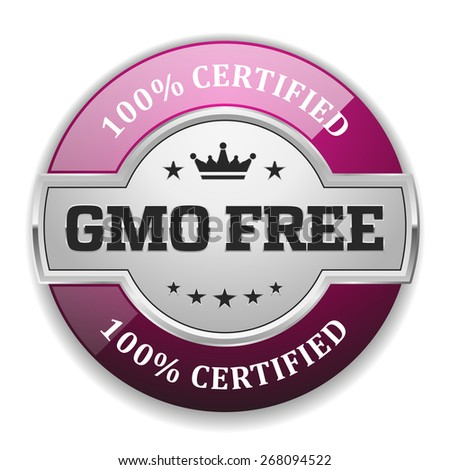 Silver gmo free badge with purple border on white background - stock vector