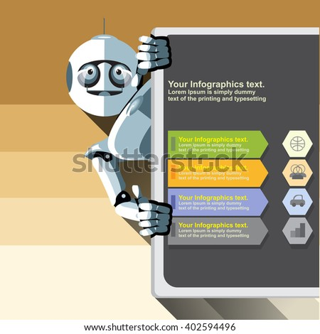 Silver humanoid robot presenting info graphic on a big display. Digital background vector illustration. - stock vector