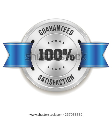 Silver hundred percent satisfaction badge with blue ribbon on white background - stock vector