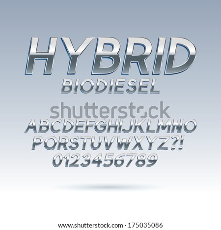 Silver Hybrid Font and Numbers, Eps 10 Vector, Editable for any background - stock vector