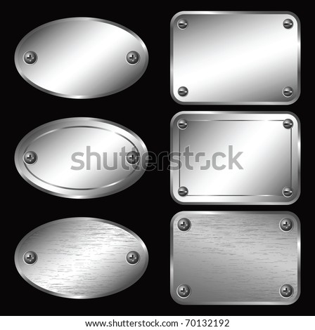 Silver Labels - Nameplates - stock vector