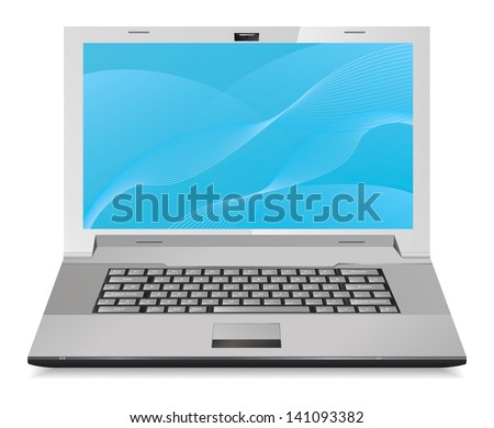 Silver laptop isolated on white. Front view. Vector illustration. - stock vector