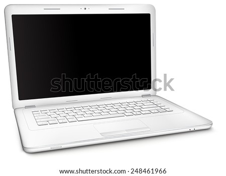 Silver laptop with copy space at black blank screen, isolated on white background. Three-quarter view. - stock vector