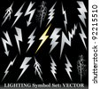 Silver lightning set on black. Huge  Vector set - stock photo