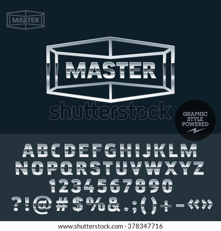 Silver logo for motor service. Vector set of letters, numbers and symbols. - stock vector