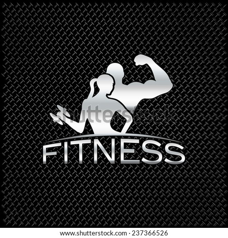 silver man and woman of fitness silhouette character on metal background - stock vector