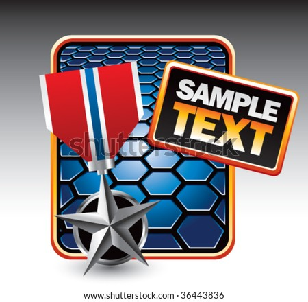 silver medal on hexagon banner - stock vector