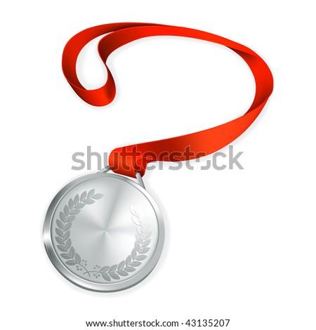 Silver Medal, vector - stock vector