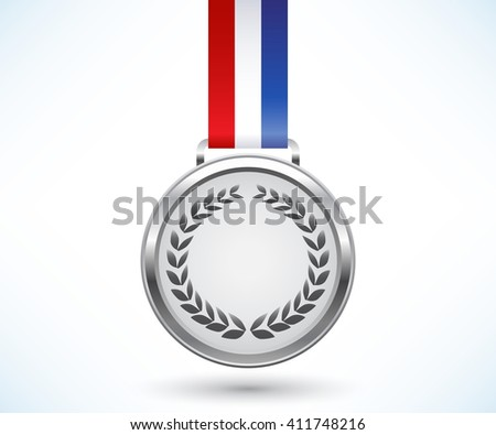 Silver medal with tricolor ribbon