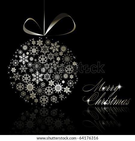 Silver Merry Christmas postcard. Vector eps10 illustration - stock vector