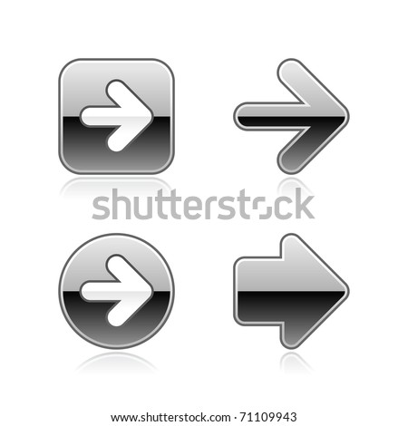 Silver metal arrow web buttons with gray reflection on white - stock vector